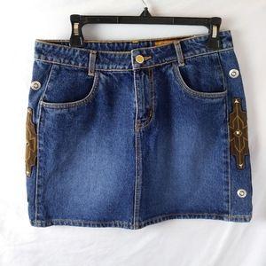 Blue Jean Mini Skirt Western High Waist Conchos